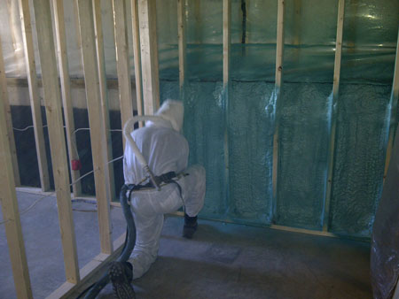 insulation being sprayed